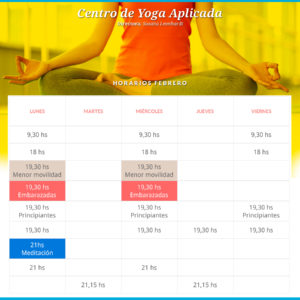 horarios yoga febrero