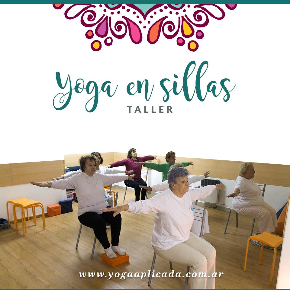 Taller de yoga en sillas centro de yoga aplicada for Sillas plegables para yoga
