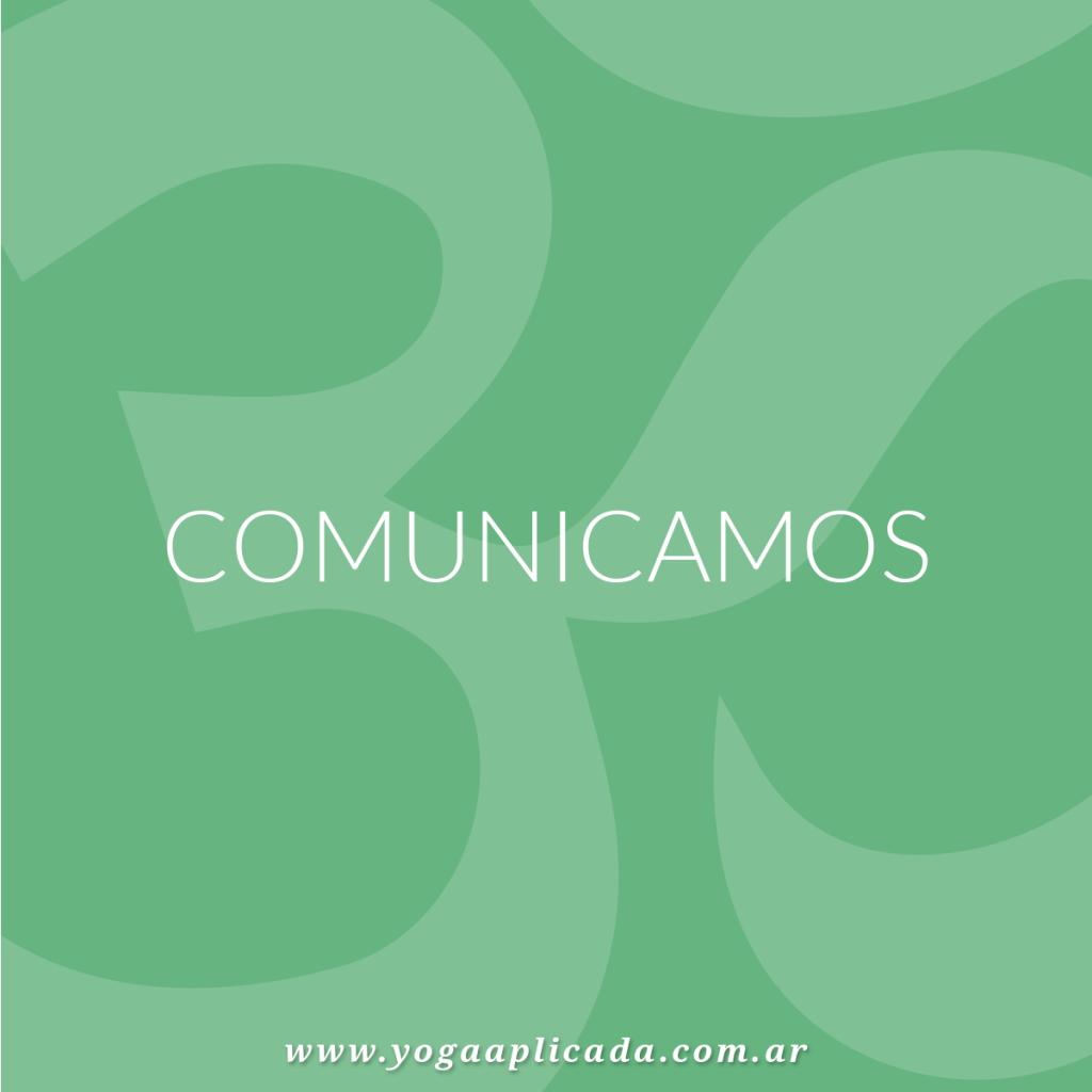 comunicado yoga aplicada